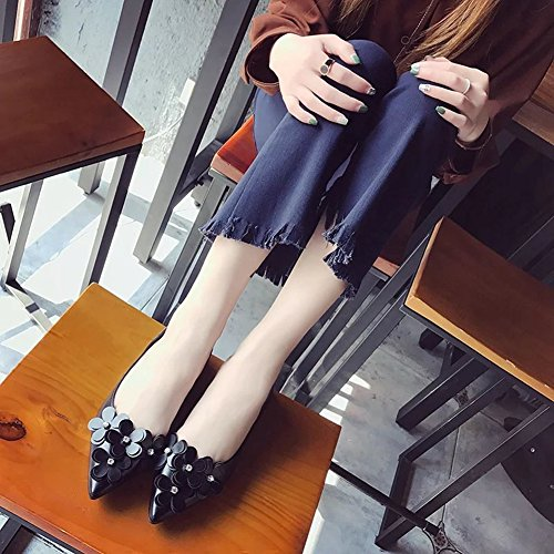 Penny for JULY Shoes T Fashion Slip Flowers Black Loafers Casual Low Women Pointed On Toe Heel dxSqt6q