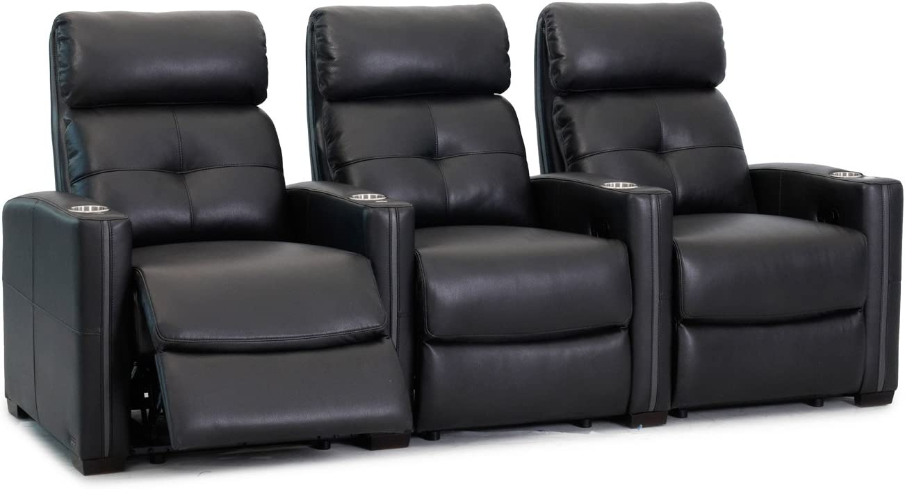 Octane Seating Cloud XS850 Home Theatre Chairs – Black Bonded Leather – Manual Recline – Straight Row 3 Seats – Space Saving Design