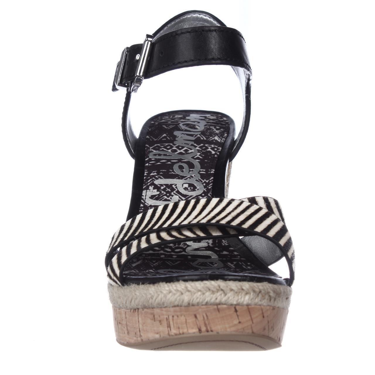 Sam Edelman Clay Suede Wedge Sandal Black Zebra 8.5 M