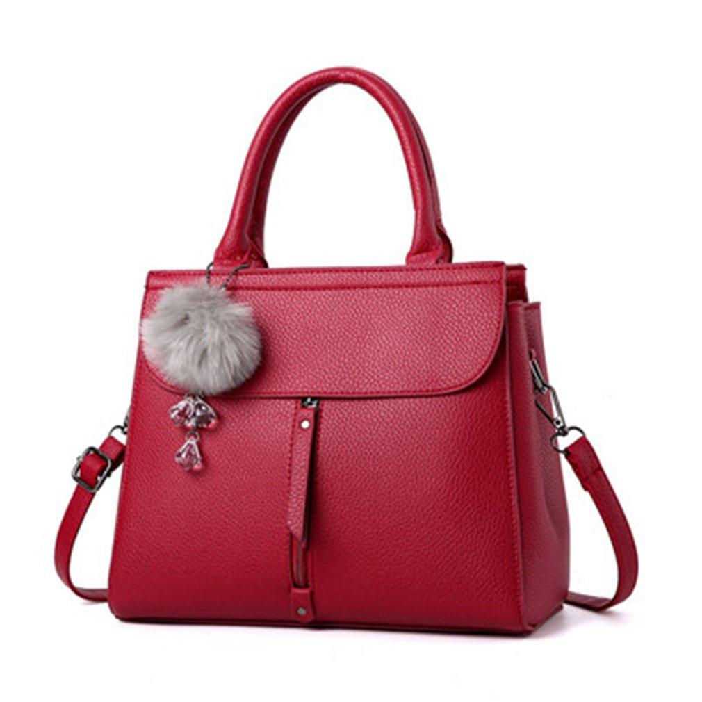 Women Leather Handbag Shoulder Bag Women's Tote Bag Women Messenger Bags Female Leather Crossbody Bags For Women wine 28x11x23cm