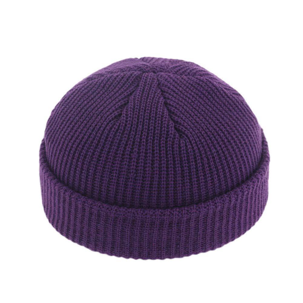 ZIQKAO M/ützen Unisex H/üte Gestrickt Baumwolle Cap Mode-Accessoire Reine Farbe Hut F/ür M/änner Cap Frau
