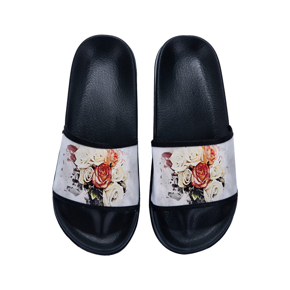 Beautiful Rose Summer Slippers Flowers Non-Slip Quick-Drying Slippers for Womens