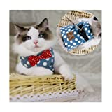 Stock Show Cat/Dog Walking Jackets Cat Vest Harness and Matching Lead Leash Set with Cute Bowtie Detachable Leash Pet Reteo British Style Harness for Small Mediums Dogs Puppy Cats Kitten, Blue, S
