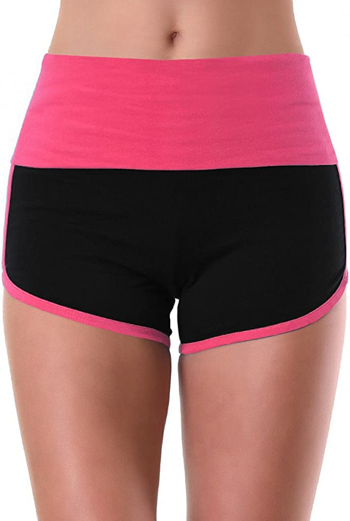Interstate Apparel Womens Dripping Graffiti Train Insane V278 Pink//Black Athletic Workout Yoga Shorts Back