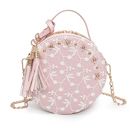 Lace Round Handbag, longmiao PU Leather Women Tassel Crossbody Bags Female  Small Beige Fresh Flower Chain Shoulder Bag 9f76d0c5e7