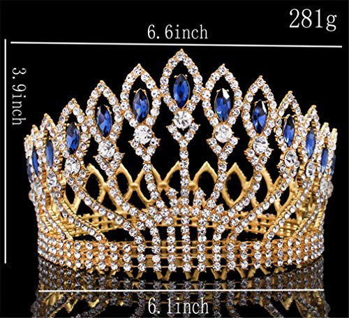 Sparkling Crystal Queen King Wedding Tiara Crown Pageant Prom Diadem Headpiece Bridal Hair Jewelry Accessories Gold blue -