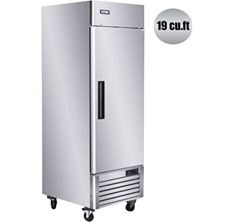 Amazon Com 23 Single Door Commercial Refrigerator Kitma Bottom Mount Upright Refrigerator With 3 Adjustable Shelves Stainless Steel Reach In Reversible Door Fridge For Restaurant 36 38 Appliances