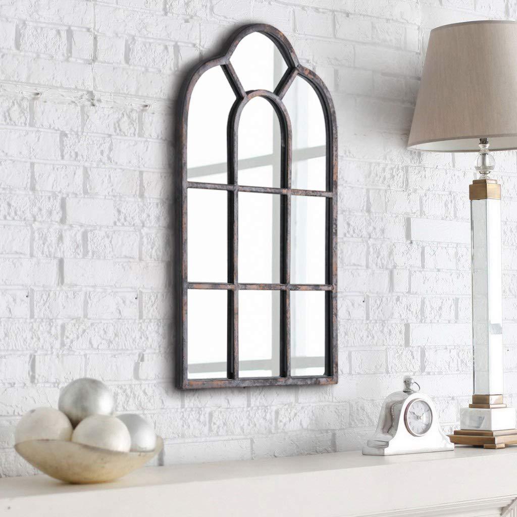Rumcent Wandspiegel, Vintage-gewölbter Fensterscheibenspiegel, Metallrahmen, Wanddekoration für Schlafzimmer, Wohnzimmer, Galeriewand und Flur