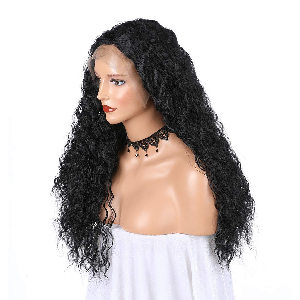 JYS Long Bob Lace Front Wig Synthetic Black Wig Glueless Wave Hair Heat Resistant Fibers Middle Parting 24 Inches for Ladies Cosplay Costume Halloween Party Hair Wig (Black) by JYS (Image #8)