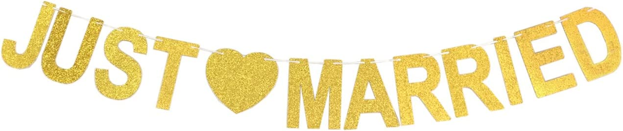 GZFY Just Married Banner Gold Glitter Sign for Wedding Decorations Wedding Photo Booth Props