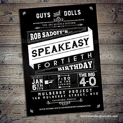 Amazon Com Speakeasy Birthday Party Invitations Set Of 10