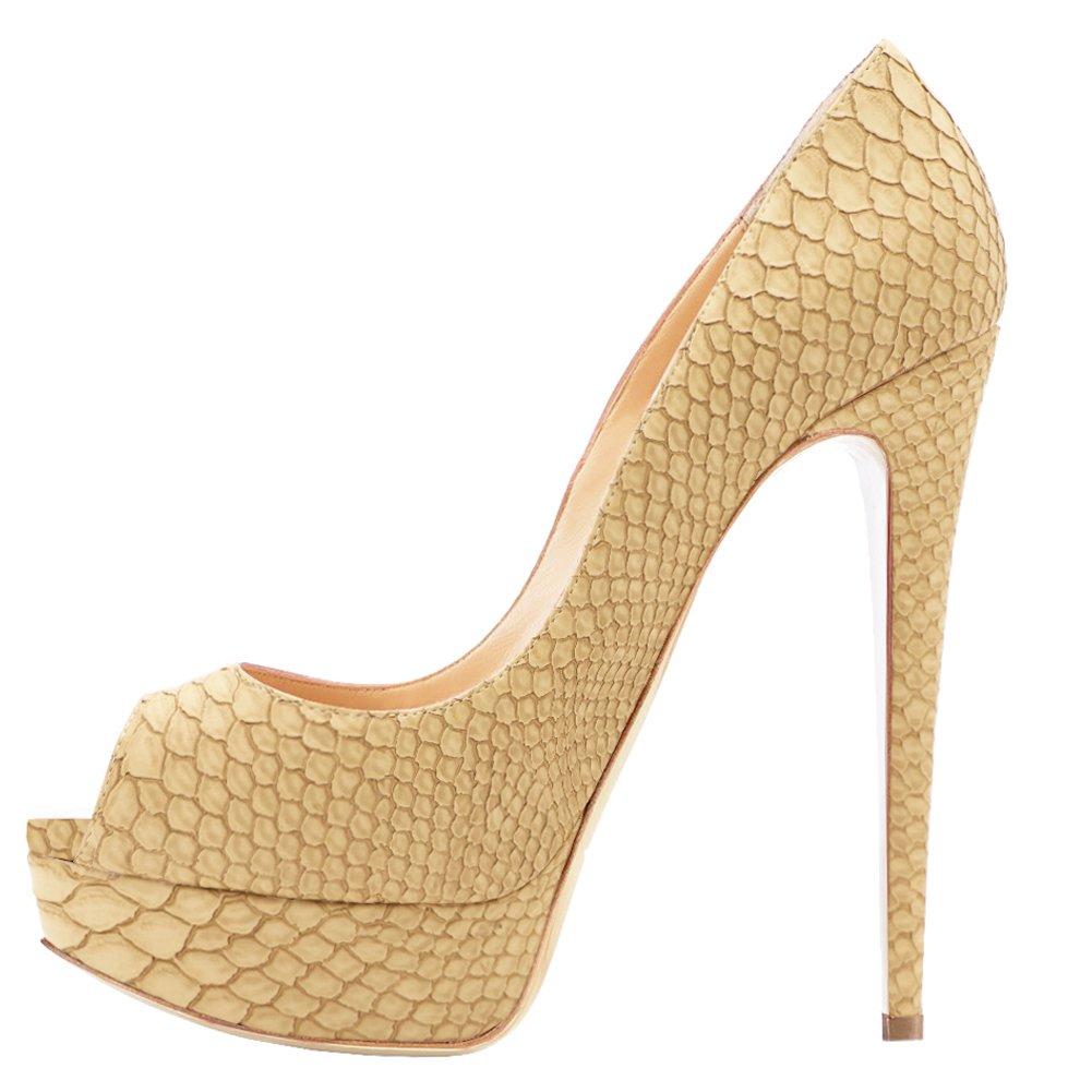 Lutalica Zapatos de Punta Abierta de Charol Mujer 38 EU|Beige Schlangenhaut