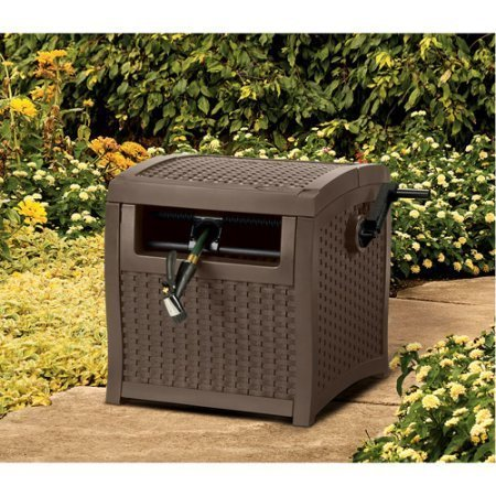 Top Selling Beautiful Dark Chocolate Brown Woven Plastic Hose Reel Storage Box Dispenser- Perfect For Garden Deck Patio- Full 225' Hose Storage With Smart-Trak Winding Technology- Durable Lightweight