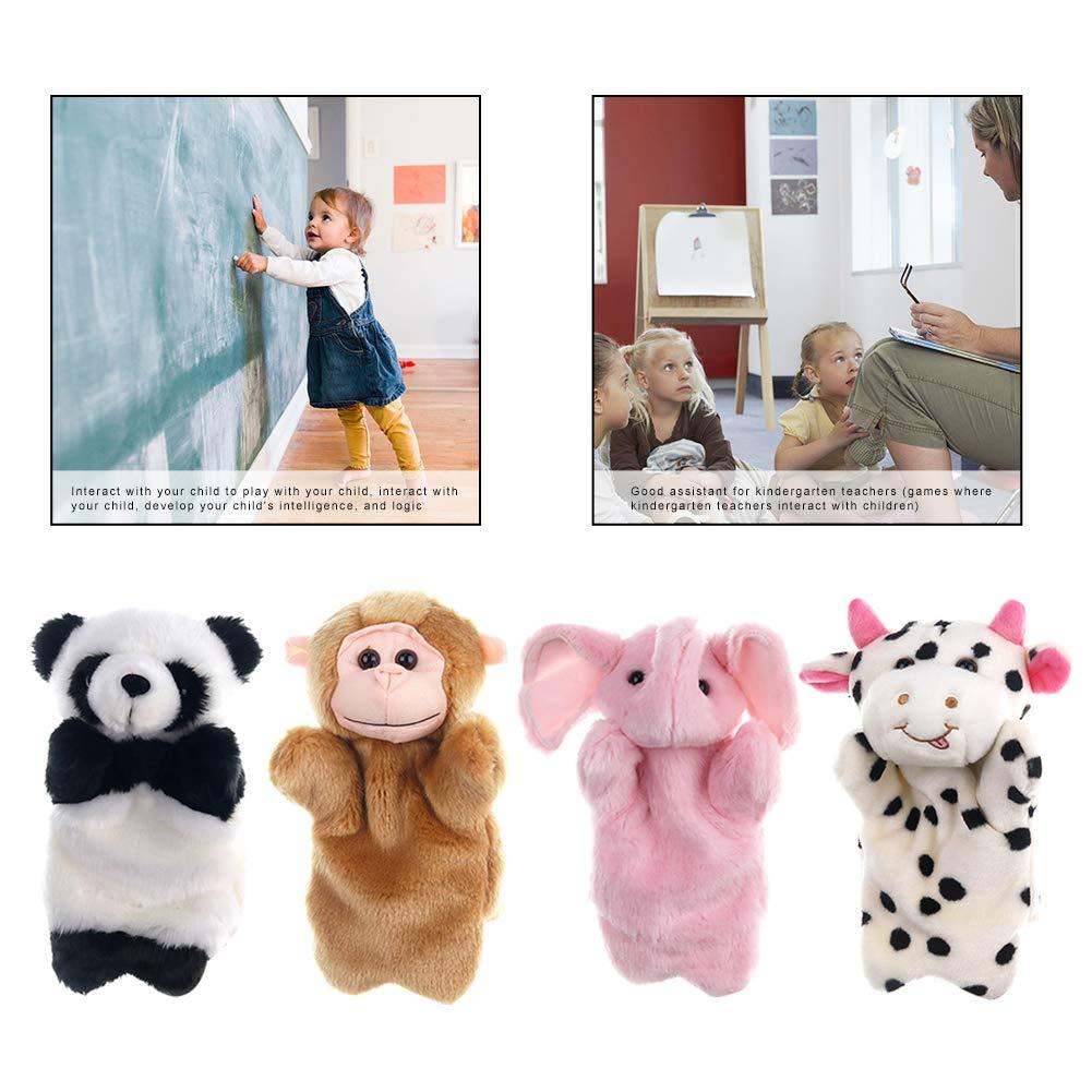 LAANCOO Animaux Marionnette 4Pcs Marionnette /à Main en Peluche Jouets pour Enfants Histoire Racontant des Marionnette