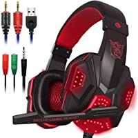 Gaming Headset Mic LED Light Laptop Computer, Cellphone, PS4 Son on, DLAND 3.5mm Wired Noise Isolation Gaming Headphones - Volume Control.(Black Red)