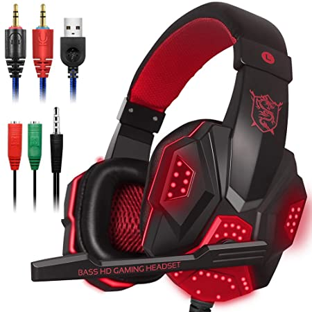 Review Gaming Headset with Mic and LED Light for Laptop Computer, Cellphone, PS4 and son on, DLAND 3.5mm Wired Noise Isolation Gaming Headphones - Volume Control.(Black and Red)