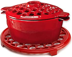 Plow & Hearth 33885RD 33885-RD 1.5 QT. Cast Iron Lattice Steamer And Trivet Set, in Red, 1.5Qt,