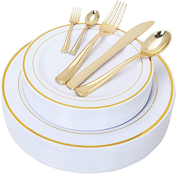 NERVURE 175 Piece Gold Plastic Plate & Cutlery Set Service for 25 Disposable Place Setting Include: 25 Dinner Plates,25 Dessert plates, 25 Forks,25 Knives, 25 Spoons, 25 Mini Forks,25 Mini Spoons