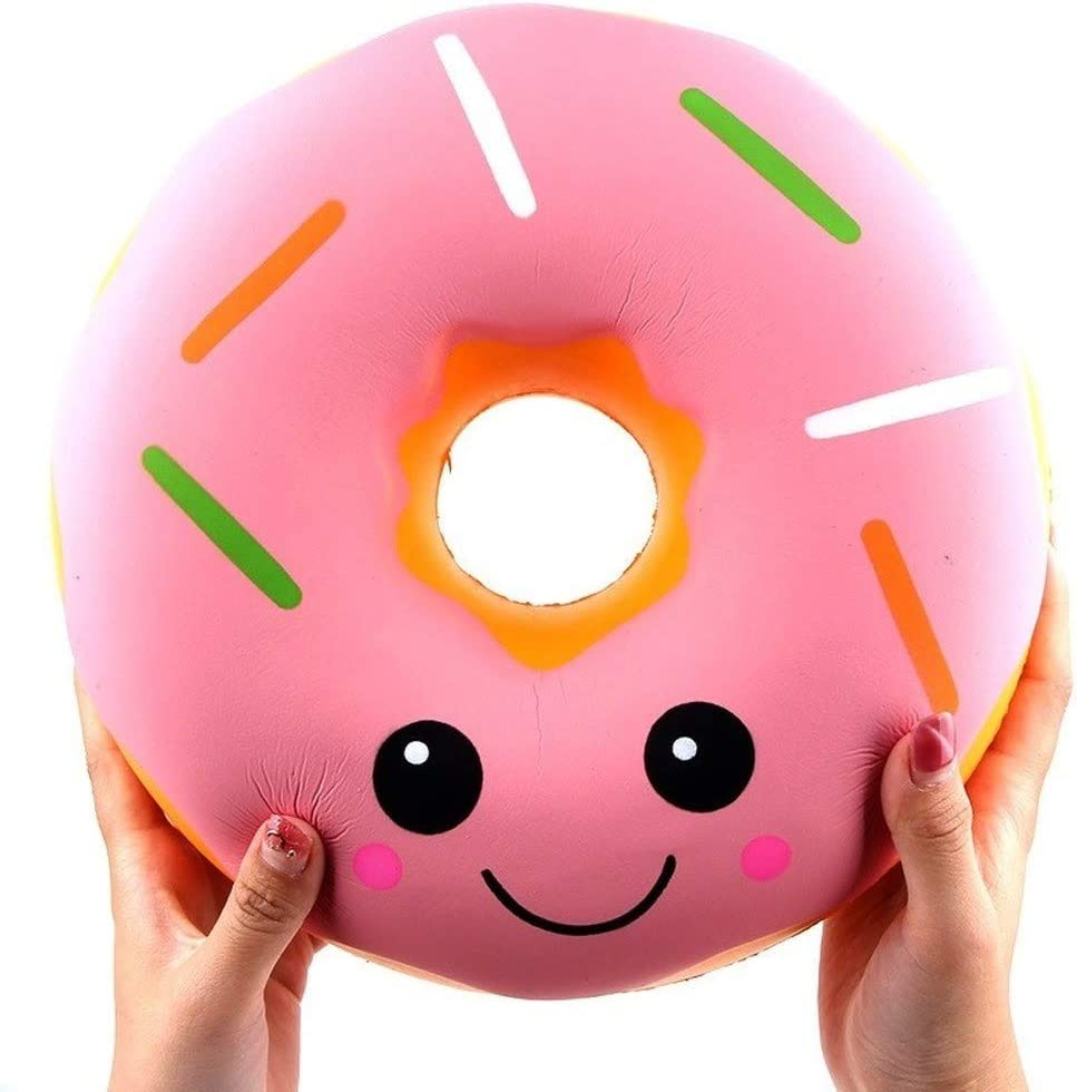Ganjiang Giant Food Squishy Jumbo Squishies Slow Rising Soft Stress Relief Toy Kids Gift Collections (Pink Donut)