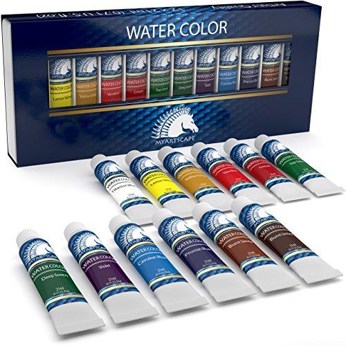 Watercolor Paint Set - Artist Quality Paints - 12 x 21ml Vibrant Colors - Rich Pigments - Professional Supplies by MyArtscapeTM