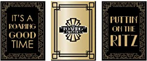 Big Dot of Happiness Roaring 20's - 1920s Wall Art, Room Decor and Art Deco Jazz Themed Room Home Decorations - Gift Ideas - 7.5 x 10 inches - Set of 3 Prints