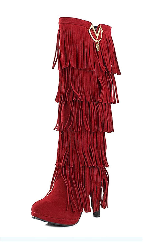 YE Botte Frange Femme Talon Haut Aiguille Chaussure Hiver  Amazon.fr   Chaussures et Sacs b4a45e6c0f19