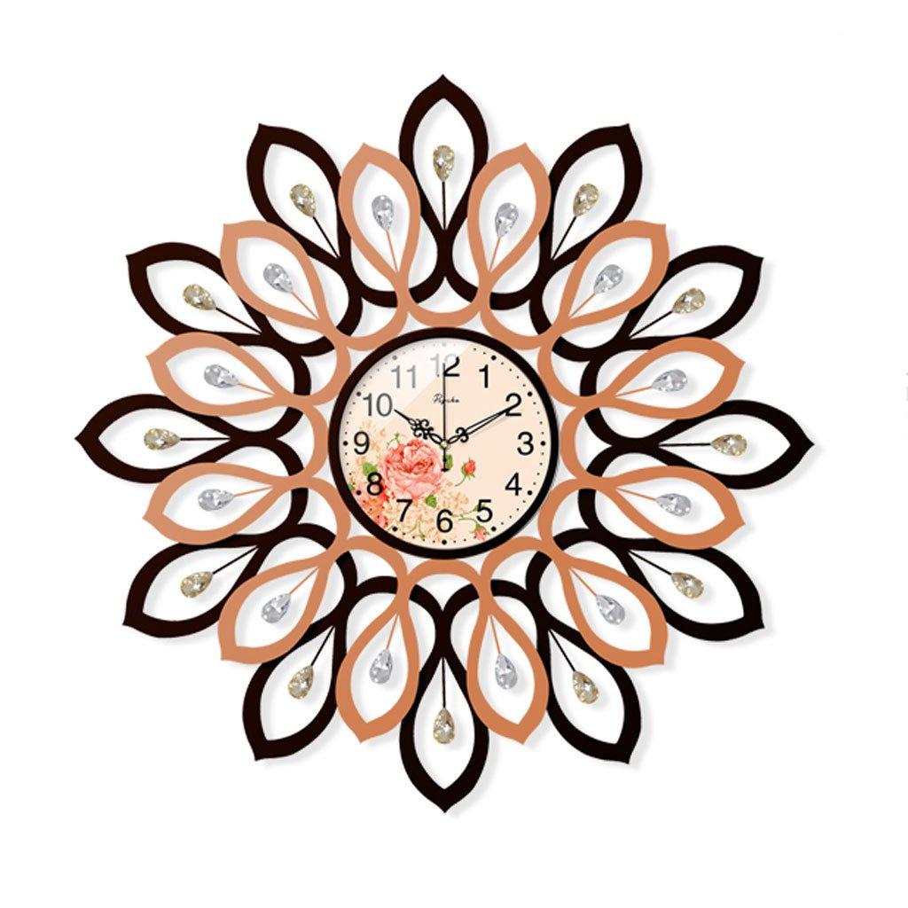 ウォールクロック ヨーロッパの創造的なファッションの居間寝室のアート時計の腕時計ラインストーン装飾的な孔雀の壁時計 (色 : B) B07DJ9QTRYB