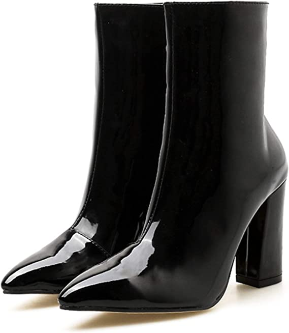 Womens Nude Chunky Heel Boots Pointy Toe Patent Leather