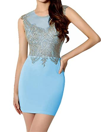 Queenworld Womens Elegant Short Party Cocktail Prom Dresses US-6 Blue