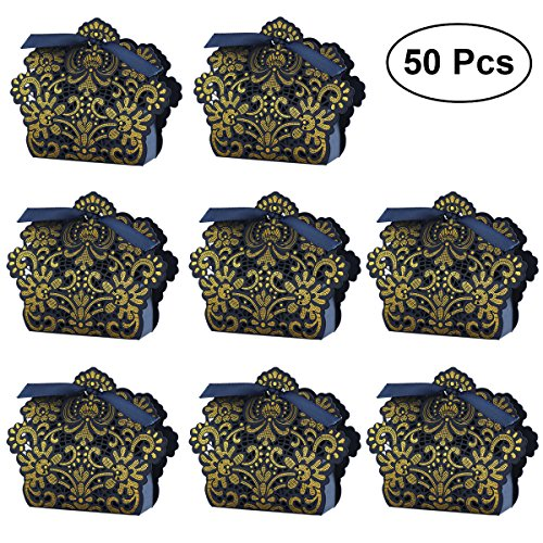 (WINOMO 50pcs Wedding Favor Boxes Hollow Out Craft Paper Box For Gifts Candy Sweets with Ribbons (Navy)