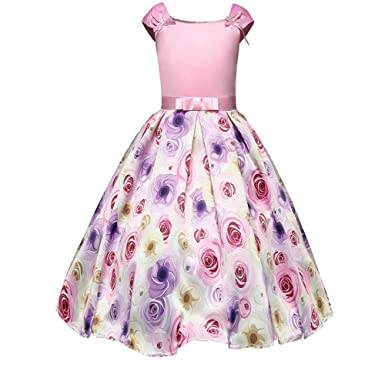 c01b44cae74 FACOCO Girls Printed Dress Summer Bow Dress Tutu Cute Princess Dress  Opening Gift(Pink 100cm