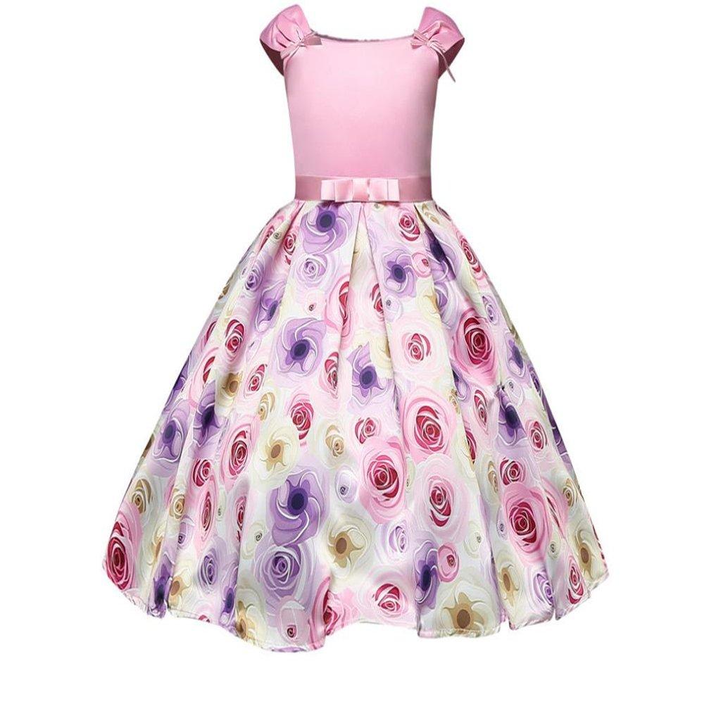 LYLIFE Girls Flower Printing Chiffon Princess Wedding Party Holiday Dresses