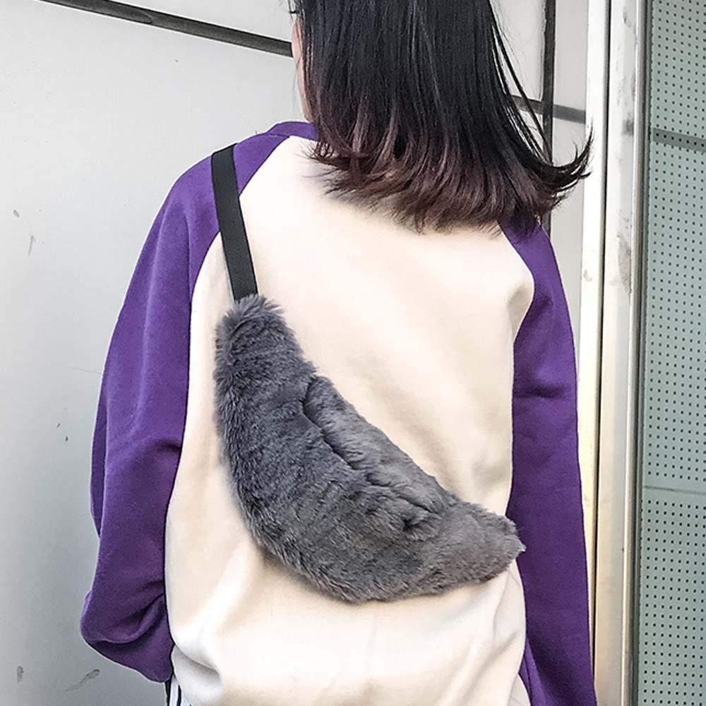 Waist Bag for Women Men Couple Faux Fur Fanny Pack for Carrying Smartphone Multi-Function Pockets Chest Bag