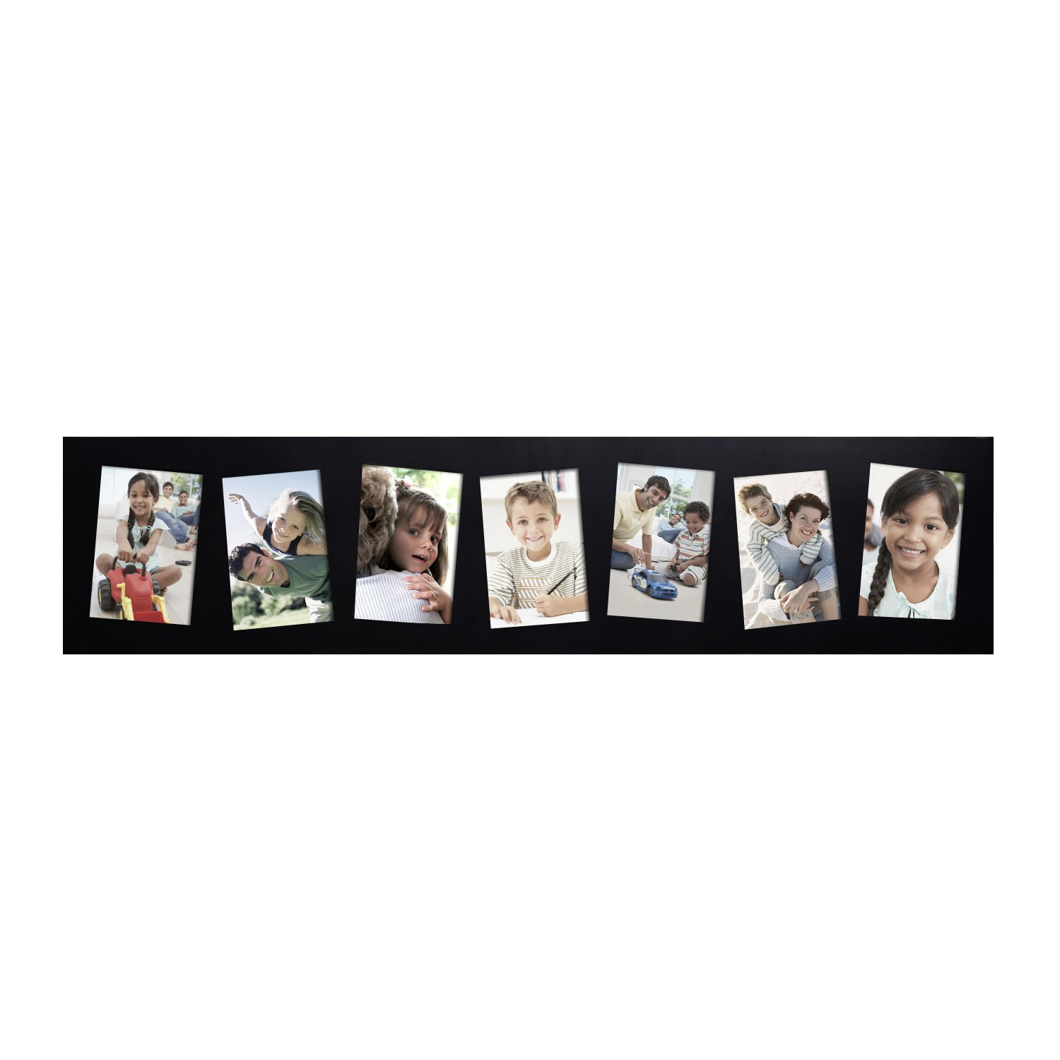 Adeco 7 Openings Black Wood Wall hanging Collage Picture Photo Frame - Made to Display Seven 5x7 Photos