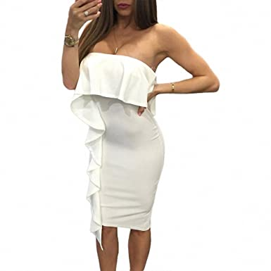 White Asymmetric Ruffle Trim Strapless Bodycon Dresses Sexy Off Shoulder Club Party Midi Pencil Dress Women