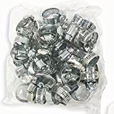 "50 PCS Stainless Steel HOSE CLAMP Set, 1/2""-1-1/4"" Pipe Radiator Heater Adjustable Clamp Kit"