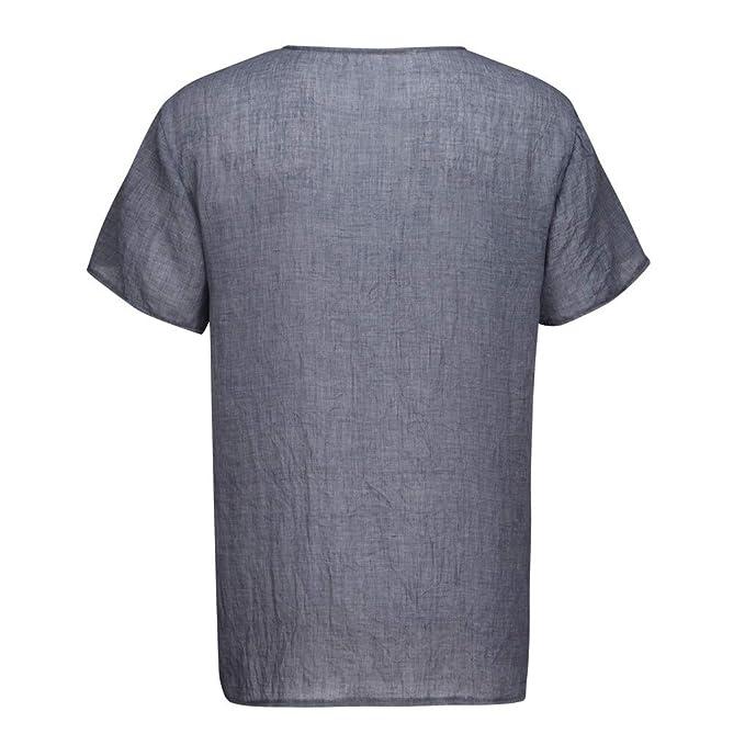 ◆T Shirt Cotone e Lino Maniche Corte da Uomo◆Camicie a Manica Lunga da Uomo in Cotone a Maniche Lunghe in Lino Tinta Unita Casuale Moda Traspirante Maglietta