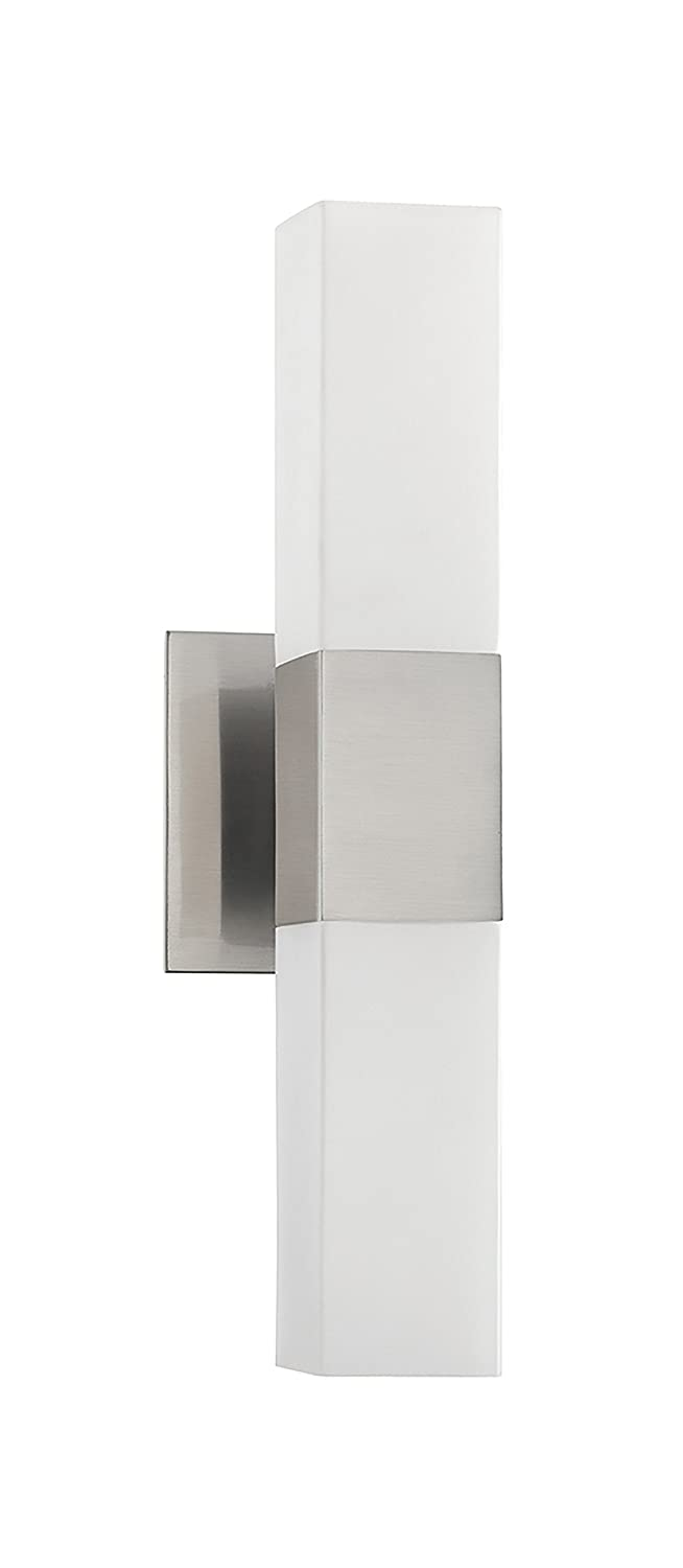 Kendal Lighting VF3400-2L-SN Madison 2-Light Vanity Fixture, Satin Nickel Finish and Square White Glass