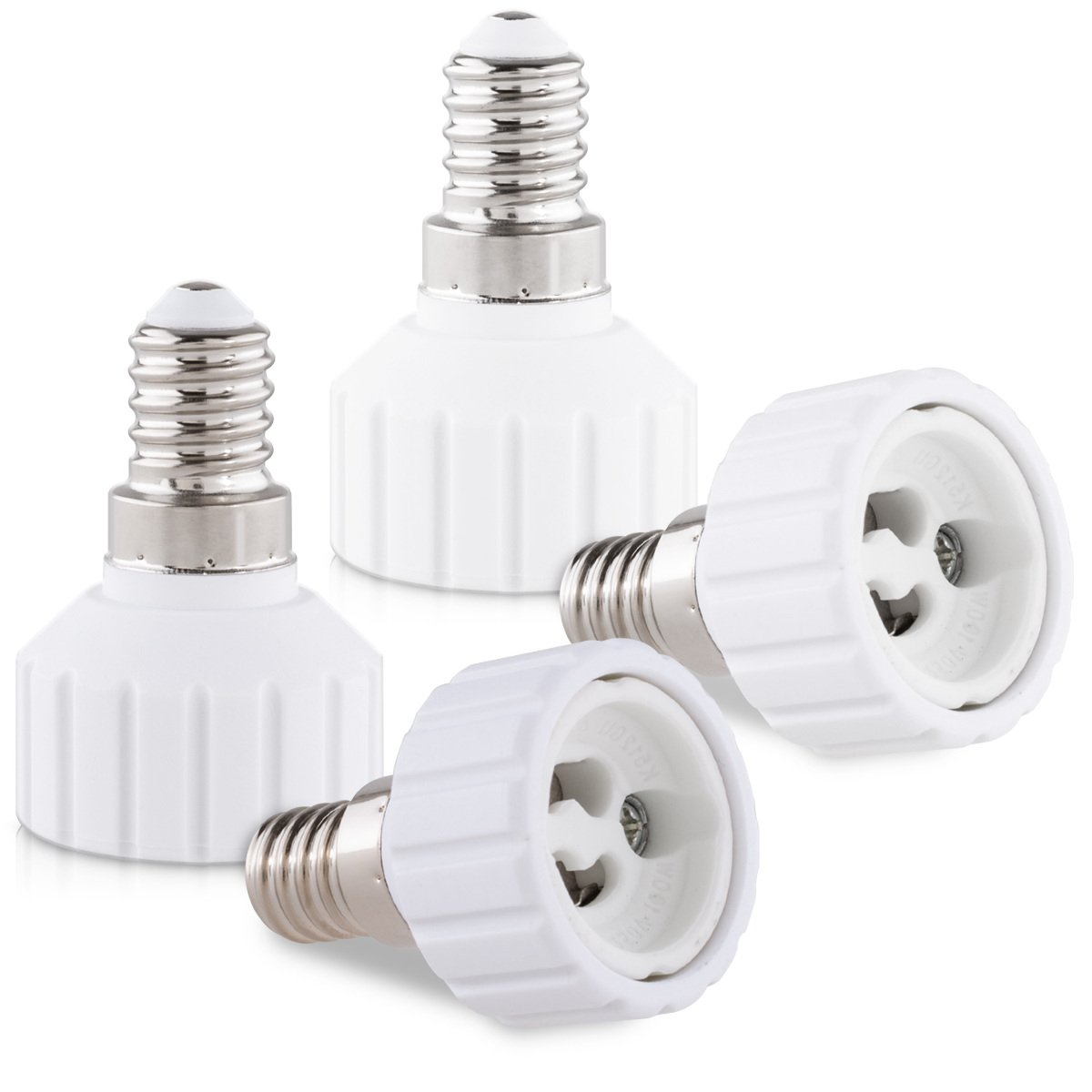 Adaptateur de support de lampe culot ba/ïonnette pour ampoule LED halog/ène Convertisseur douilles E14 vers GU10 kwmobile 4x adaptateur de douille