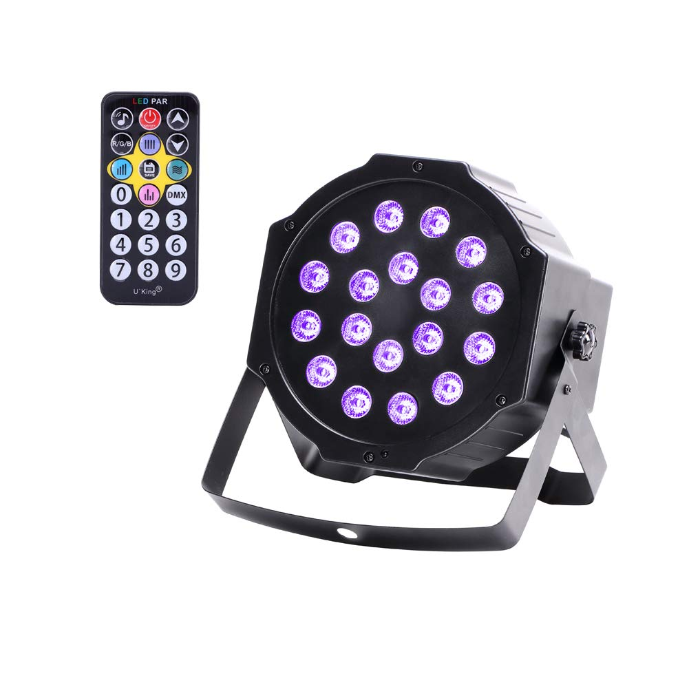 U`King Black Lights 18W LED Super Bright UV Light Blacklight Controlled by Sound Activated DMX512 Remote for Glow Party Festival Wedding Birthday Party