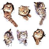 3D かわいい猫 ウォールステッカー 6匹の猫セット シ装飾 おしゃれ 壁紙 はがせる 剥がせる カッティングシート ガラス 窓 DIY パーティー イベント 賃貸部屋OK アニマル柄 動物写真 かわいい 面白い 3D 猫 ねこちゃん 猫柄 バスルーム オシャレな壁紙シール
