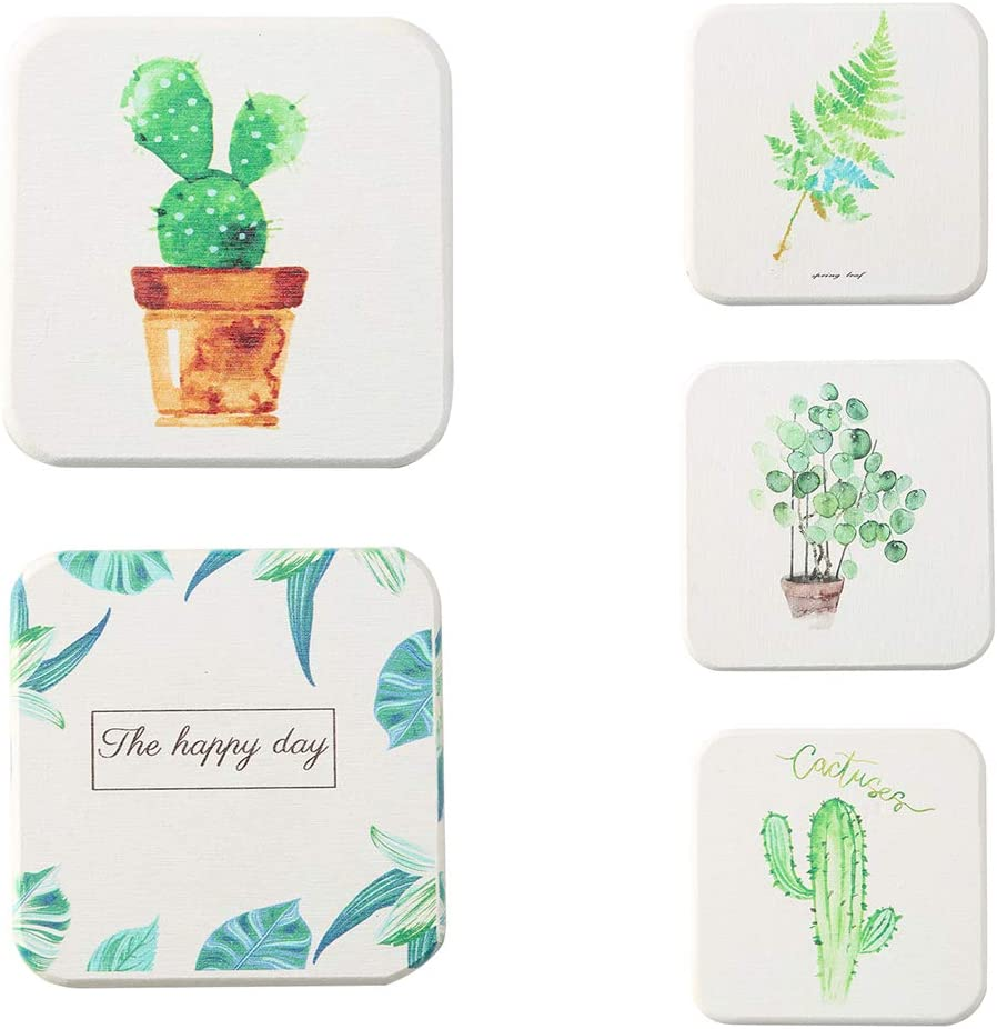 Grey990 Lovely Plant Pattern Diatom Mud Cup Coasters Absorption Water Insulation Mug Mat 4#