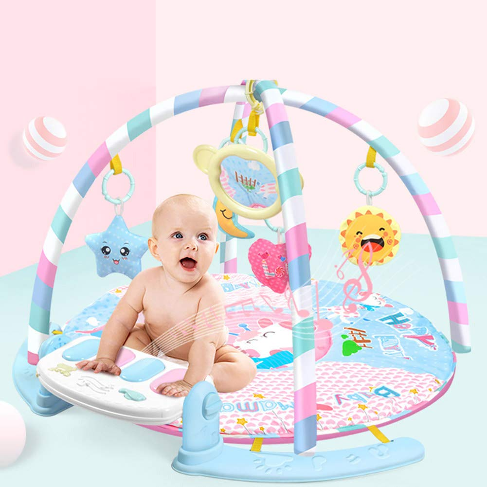 LamicAR Baby Cartoon Cradle Education Toy Fitness Frame Piano Music Blanket Crawling Mat Light Pink by LamicAR (Image #3)