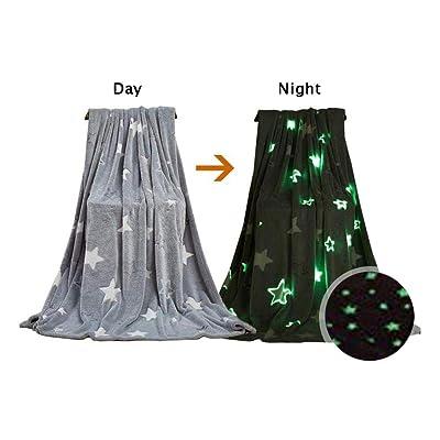 TODAYTOP Glow in The Dark Soft Throw Blanket Warm Flannel Nap Glowing Blanket Stars Pattern Flannel Fleece Blanket Christmas Fun Gift for Girls Boys Kids,100x150cm: Home & Kitchen