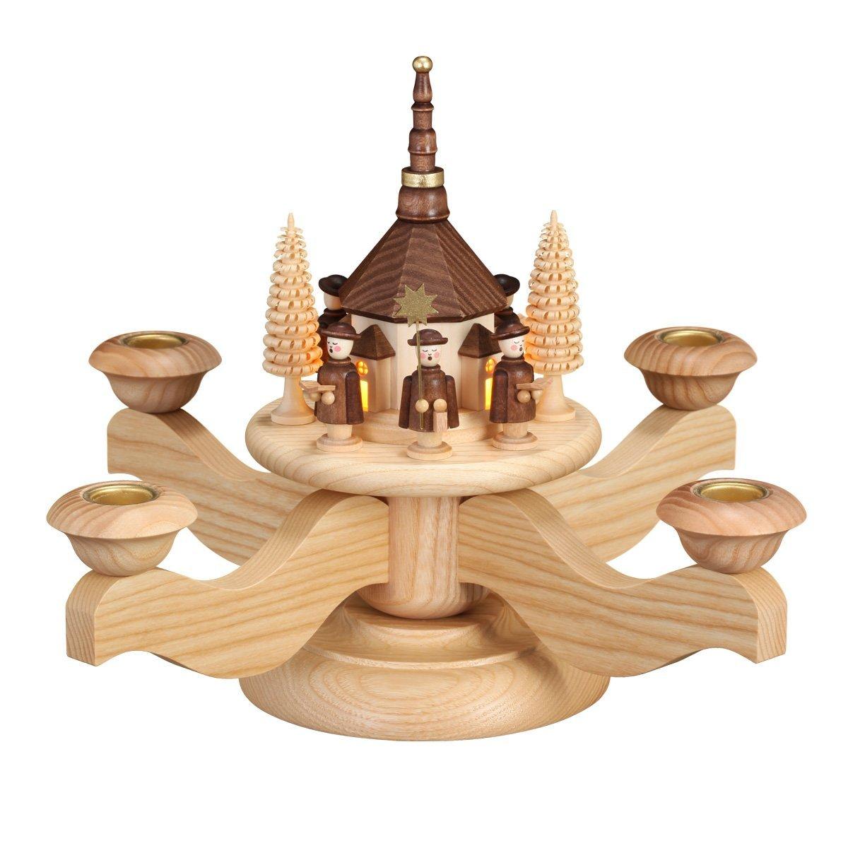 Adventsleuchter mit LED innenbel. Seiffener Kirche - Echt Erzgebirge®  0510E