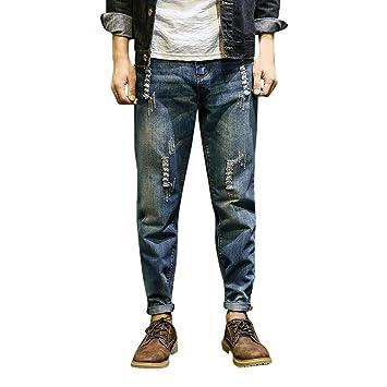Hombre Vaqueros Elástico Luckygirls Rotos Jeans Denim Pantalones Ok8nPw0