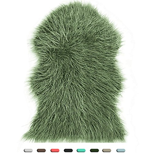 Ultra Soft Faux Sheepskin Fur Rug 2ft x 3ft Longer Size St Patricks Day Decoration - Cruelty-Free & Eco Friendly Home Decor - Fluffy Fuzzy Chair Throw Cover - Solid Shaggy Seat Pad, Moss Green (Moss Area Green Rug)