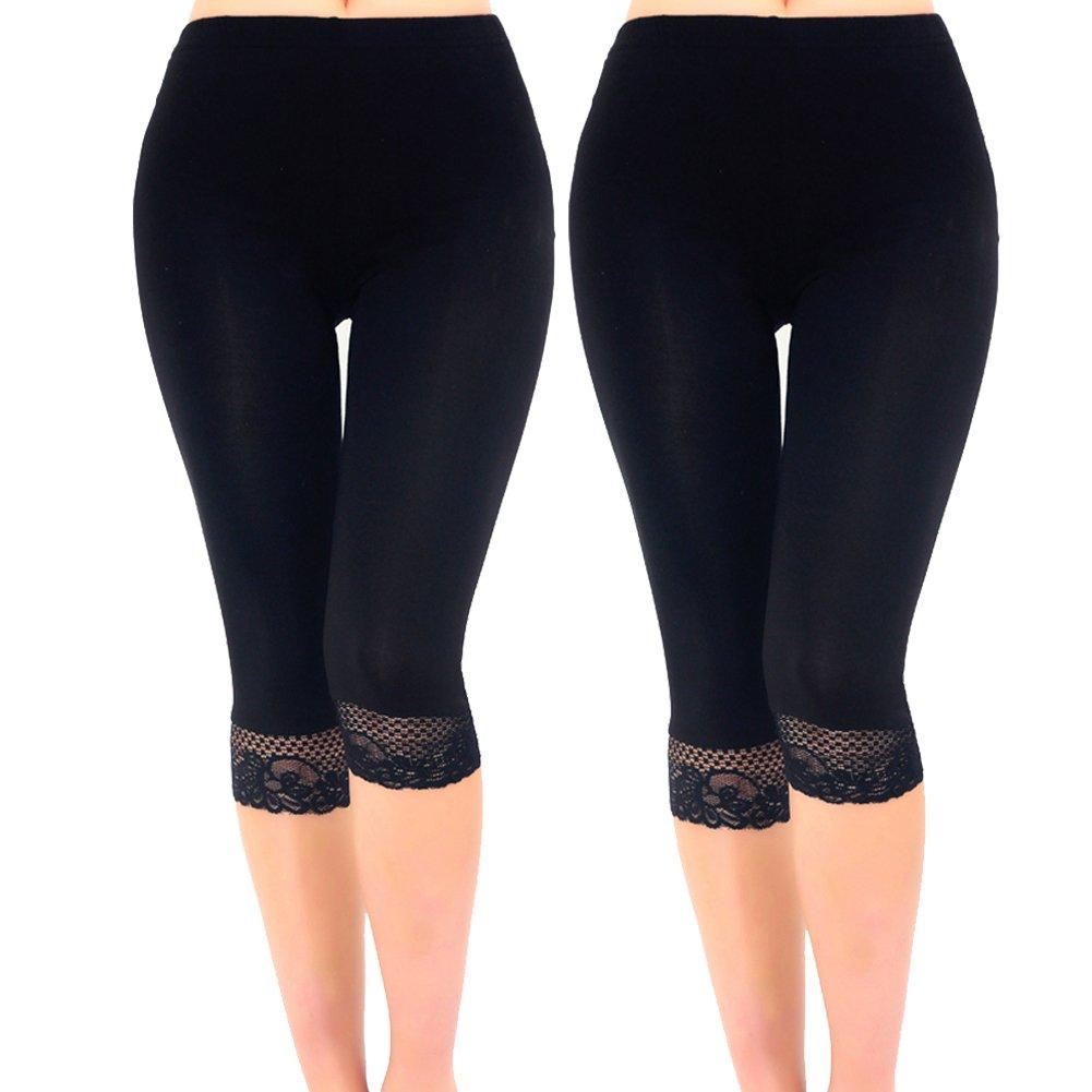 Liang Rou Women's Ultra Thin Stretch Cropped Leggings Black Lace Trim 2-Pack XL
