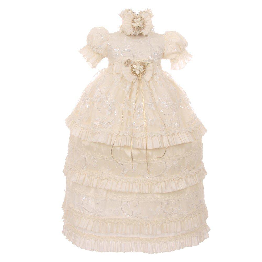RainKids Baby Girls Ivory Shantung Sequin 3 Pc Headband Baptism Gown 0-18Mo
