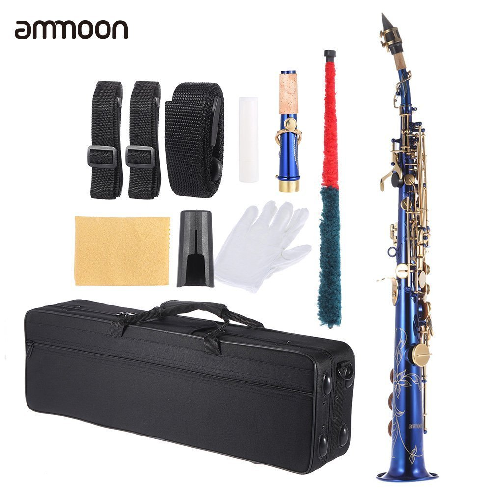 ammoon B Flat Soprano Saxophone Brass Straight Sax Bb B Flat Natural Shell Key Carve Pattern with Carrying Case Gloves Cleaning Cloth Straps Grease Cleaning Rod BHBUKPPAZINH1937